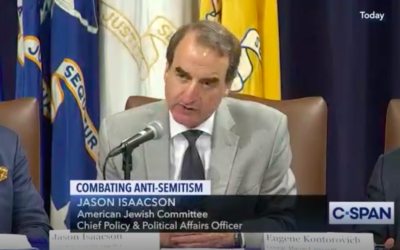 Illustrative: The AJC's Jason Isaacson participates as panelist in a US Justice Department's summit on combating anti-Semitism. July 15, 2019. (C-Span screen capture)