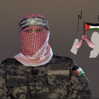 Hamas Izz al-Din al-Qassam Brigades' spokesperson Abu Obeida in a speech marking the anniversary of the 2011 kidnapping of Gilad Shalit on June 25, 2020 (Screenshot)