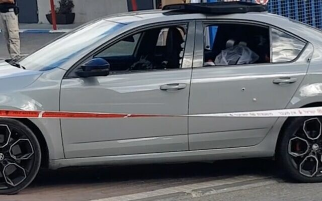 Screen capture from video of a car in which three men were shot, one of them fatally, in the northern Arab Israeli town of Baqa al-Gharbiya, June 23, 2020. (Ynet)