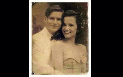 """A doctored picture of Hollywood actors Crispin Glover and Lea Thompson from """"Back to the Future,"""" which a Facebook prankster claimed was of an unidentified couple from 1950s Tel Aviv. (Courtesy/Ariel Plavnik via JTA)"""