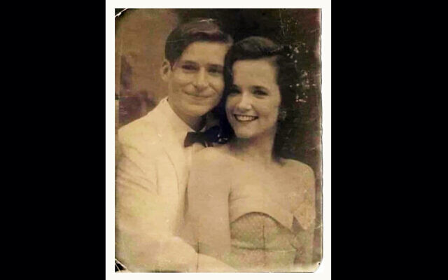"A doctored picture of Hollywood actors Crispin Glover and Lea Thompson from ""Back to the Future,"" which a Facebook prankster claimed was of an unidentified couple from 1950s Tel Aviv. (Courtesy/Ariel Plavnik via JTA)"