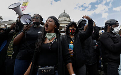 Black Lives Matter supporters during a protest at Trafalgar Square in central London, June 13, 2020. (AP/Kirsty Wigglesworth)