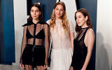 The Haim sisters, from left, Danielle, Este and Alana, at the Vanity Fair Oscar Party in Beverly Hills, California, February 9, 2020. (Taylor Hill/FilmMagic/Getty Images via JTA)