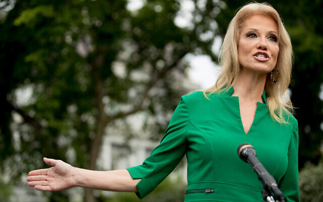 Counselor to US President Donald Trump, Kellyanne Conway, speaks to reporters on the North Lawn outside the West Wing of the White House in Washington, May 27, 2020. (AP Photo/Andrew Harnik)