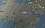 A screenshot from a flight tracker site showing an El Al flight over Sudan's airspace, June 4, 2020. (Screenshot: flightradar24)