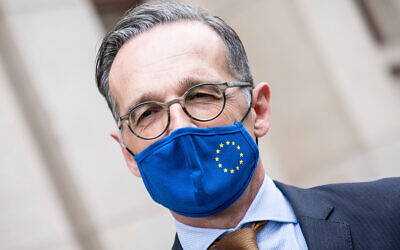 German Foreign Minister Heiko Maas following a meeting with his Italian counterpart at the Foreign Office in Berlin, Germany, June 5, 2020. (Michael Kappeler/Pool via AP)