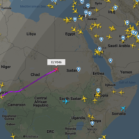 A screenshot from a flight tracker site showing an El Al flight over Sudan's airspace, June 4, 2020. (Screenshot: flightradar24)