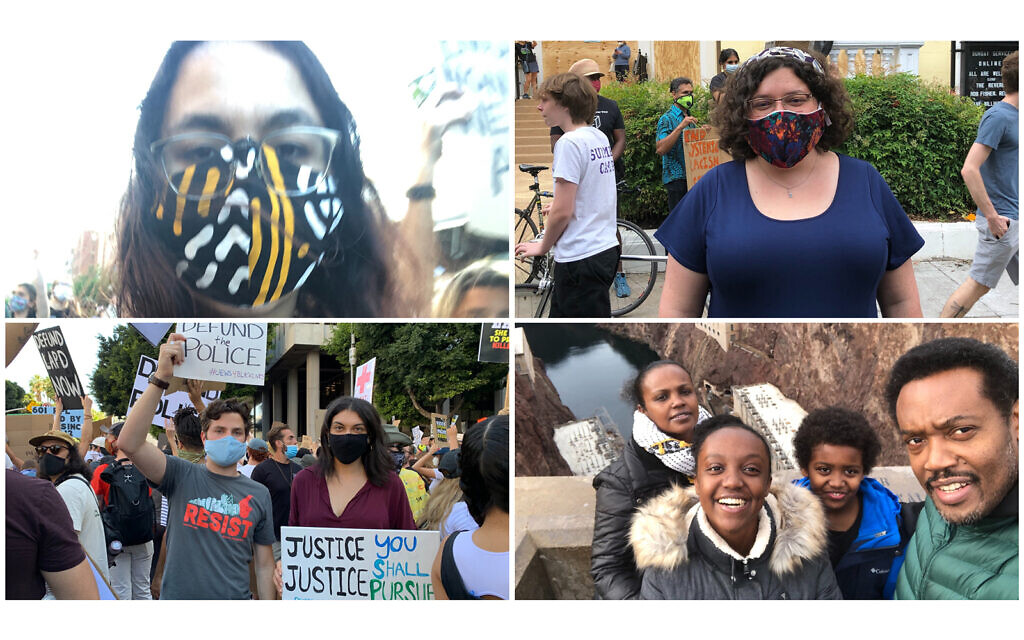 Jews who attended protests across the country. (Top left, clockwise, courtesy of Rebecca Pierce, Ruth Friedman, Beejhy Barhany and Rachel Sumekh)
