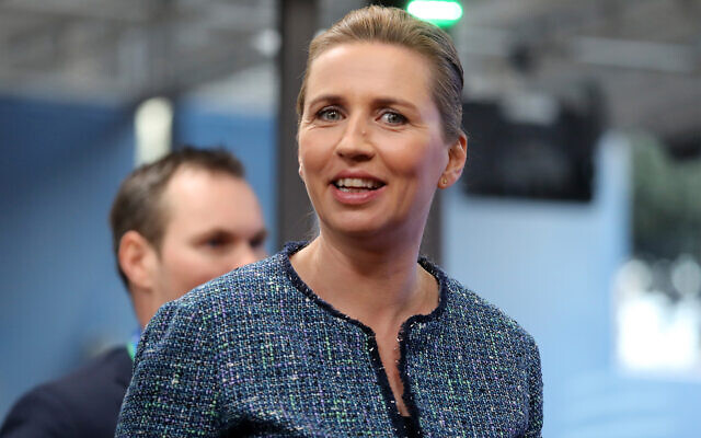 Danish Prime Minister Mette Frederiksen arrives for an EU summit at the European Council building in Brussels, February 21, 2020. (Ludovic Marin, Pool Photo via AP)