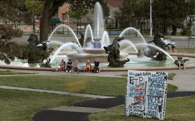 The J.C. Nichols fountain in Kansas City, Missouri, June 23, 2020. (AP Photo/Charlie Riedel)