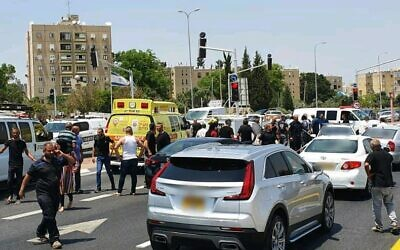 The scene of a suspected drive-by shooting at the Lod Interchange in central Israel, June 6, 2020. (Magen David Adom)