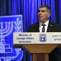 Foreign Minister Gabi Ashkenazi speaks at a joint press conference with German Foreign Minister Heiko Maas, June 10, 2020. (Foreign Ministry/courtesy)