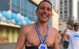 Ari Vroman trained and competed in a Tel Aviv Ironman of his own making, in the wake of the coronavirus (Courtesy Ari Vroman)