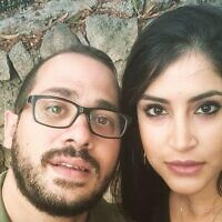 This undated photo released by the Shin Bet security service on June 30, 2020, shows Arab Israeli citizen Beirut Hamoud (R) and her husband Bilal Bizari. The Shin Bet accused the two of working to recruit two residents of Majd al-Krum, Hamoud's hometown, for the Hezbollah terror group. (Shin Bet)