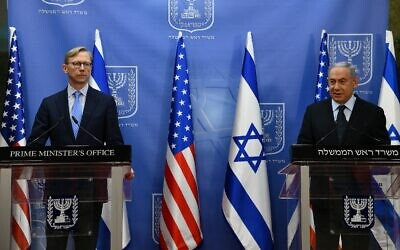 Prime Minister Benjamin Netanyahu, right, meets with US Special Representative for Iran Brian Hook in Jerusalem on June 30, 2020. (Haim Tzach/GPO)