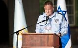 Maj. Gen. Tomer Bar at a ceremony at the Rabin military base, on June 20, 2020. (Israel Defense Forces)