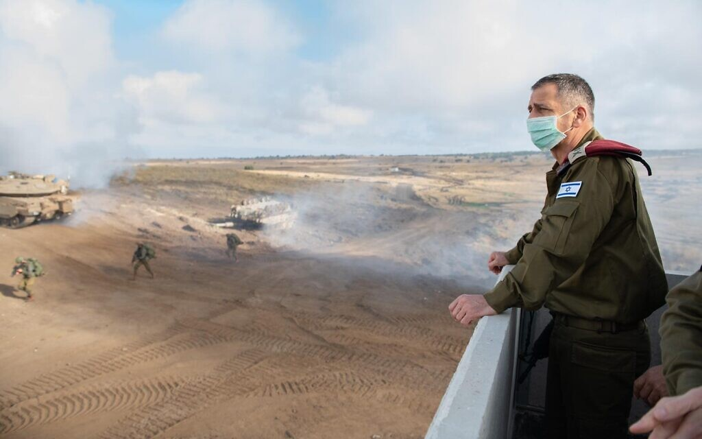 IDF Chief of Staff Aviv Kohavi observes a military exercise in northern Israel on June 23, 2020. (Israel Defense Forces)