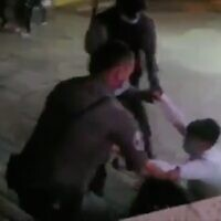 Screen capture from video showing the arrest of Yedidya Epstein during a clash in the Old City of Jerusalem, June 25, 2020. (Twitter)