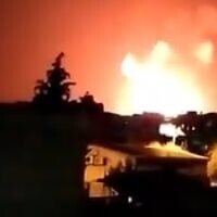 Illustrative: Explosions are seen in the Syrian town of Salamiyah on June 24 after an alleged Israeli airstrike (video screenshot)