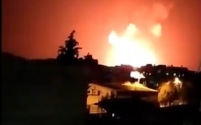 Explosions are seen in the Syrian town of Salamiyah on June 24 after an alleged Israeli airstrike (video screenshot)