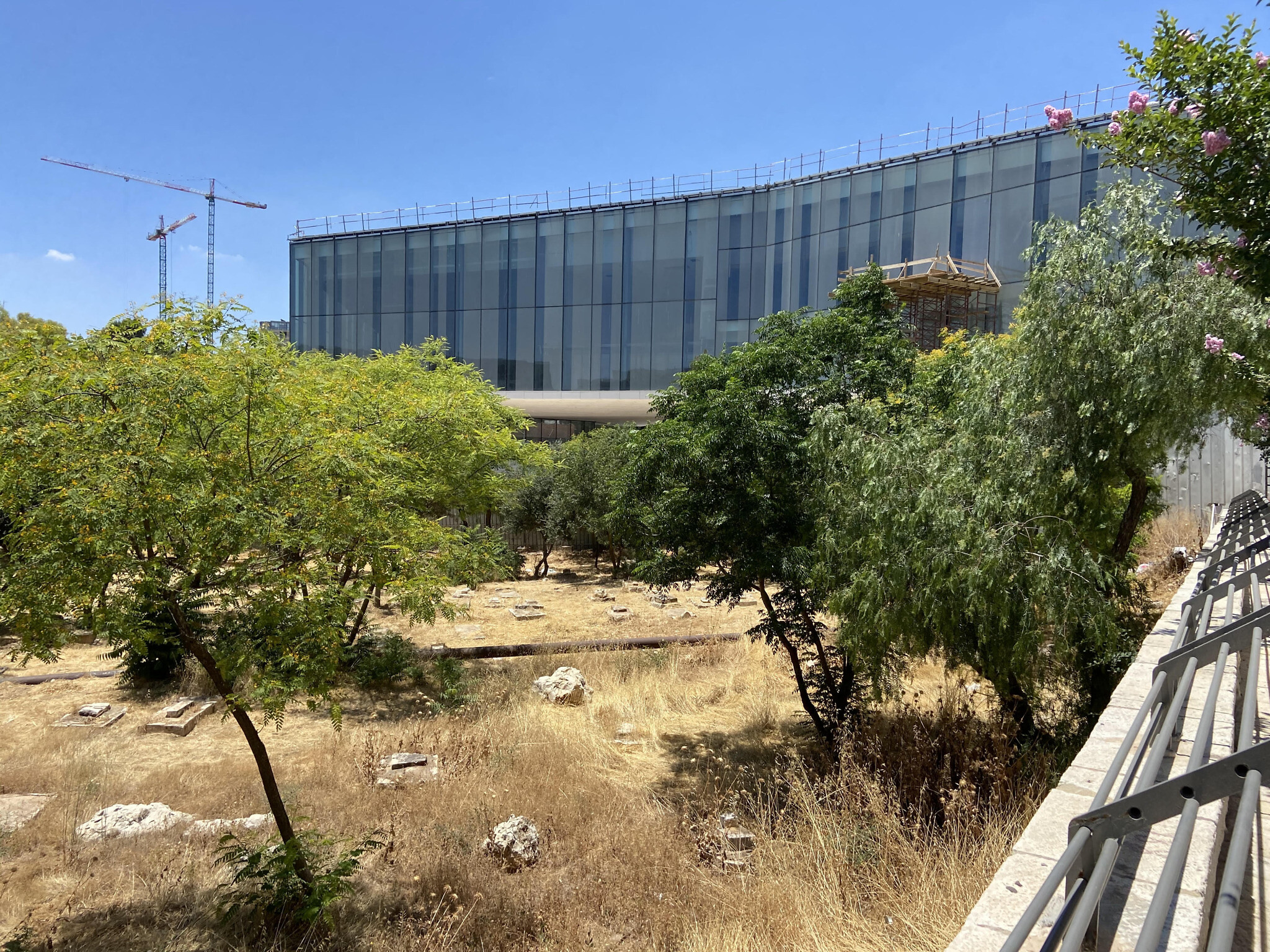 The Museum of Tolerance in Jerusalem, pictured from an area of the adjacent Muslim cemetery, June 15, 2020 (ToI staff)