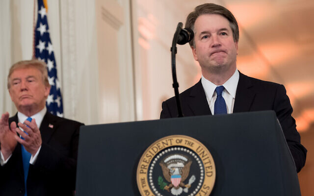 US Judge Brett Kavanaugh speaks after being nominated by US President Donald Trump (L) to the Supreme Court in the East Room of the White House on July 9, 2018 in Washington, DC. (Saul Loeb/AFP/Getty Images via JTA)