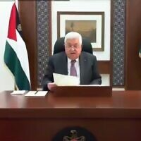 Palestinian President Mahmoud Abbas addresses the Arab Parliament, a branch of the Arab League, on Wednesday, June 24, 2020 (Credit: WAFA)
