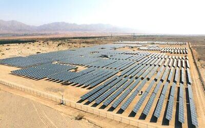 Solar panels in the southern Israeli city of Eilat, October 21, 2015. (Moshe Shai/FLASH90)