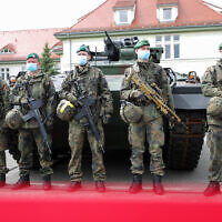 German soldiers pictured in the German state of Saxony, May 26, 2020. (Jan Woitas/picture alliance via Getty Images via JTA)