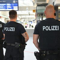 German police seen in Potsdam's central train station, on June 26, 2020. (Julian Stähle/picture alliance via Getty Images via JTA)