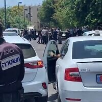 The scene in Jaffa where a man was shot dead and a 12-year-old critically injured, June 16, 2020 (Screen grab/Ynet)