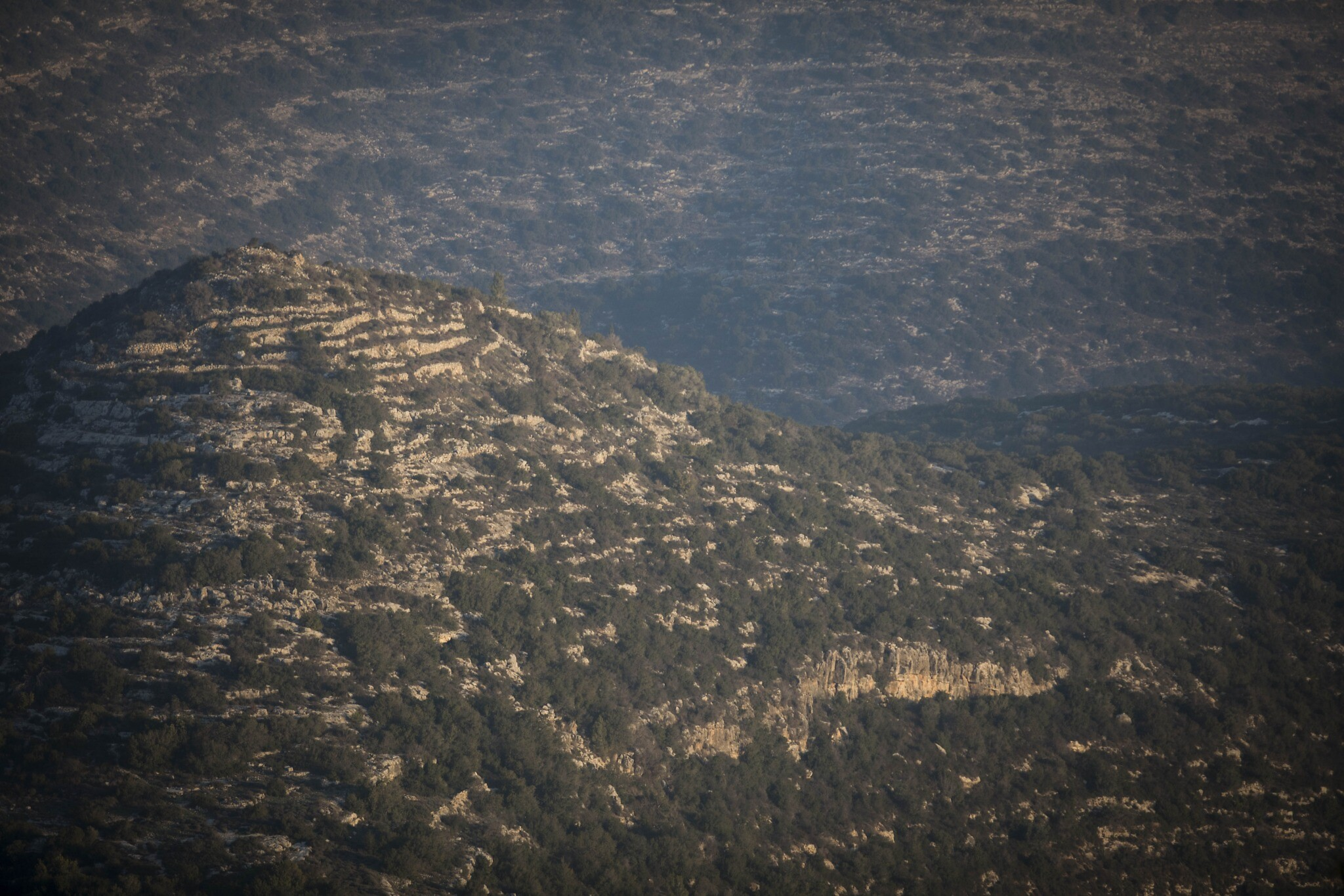 View of the Jerusalem hills from Ein Kerem, January 22, 2017.(Nati Shohat/Flash90)
