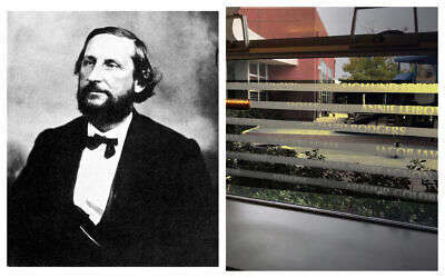 Left, former Confederate official Judah Benjamin (Photo by The Print Collector/Print Collector/Getty Images/ via JTA); right, The window in Peninsula Temple Sholom's religious school bearing Judah Benjamin's name. The name has been taped over. (Courtesy of Peninsula Temple Sholom/ via JTA)