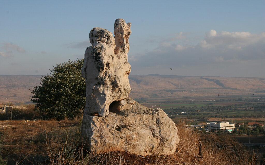 A sculpture by Asaf Ben-Zvi in Kfar Giladi in the Galilee. Ben-Zvi utilized rocks from the kibbutz's quarry in his artwork. (Shmuel Bar-Am)