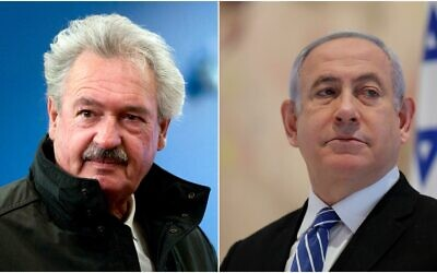 Composite photo L to R: Luxembourg's Foreign Minister Jean Asselborn in Brussels on February 26, 2018; Israeli Prime Minister Benjamin Netanyahu at the Knesset on May 24, 2020 (AP Photo/Virginia Mayo; Abir Sultan/Pool Photo via AP)