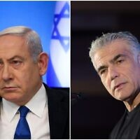 Prime Minister Benjamin Netanyahu in March 11, 2020 (left); Yesh Atid-Telem leader Yair Lapid in December 2019. (Miriam Alster/FLASH90)