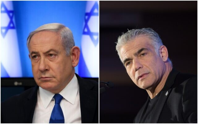 Prime Minister Benjamin Netanyahu in March 11, 2020 (left); Yesh Atid-Telem leader Yair Lapid in December 2019 (Miriam Alster/FLASH90)