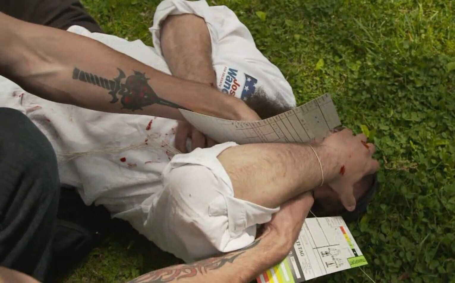 An Orthodox Jew pretends to be injured during an emergency preparedness 'bug-out' drill for Joshua Wander's family and friends in 'Doomsday Preppers.' (Screenshot/ National Geographic)