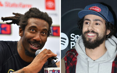 Amar'e Stoudemire, left, talked about his Jewish spirituality in an interview with Ramy Youssef. (Ed Zurga/BIG3/Getty Images; Jim Spellman/WireImage/Getty Images via JTA)