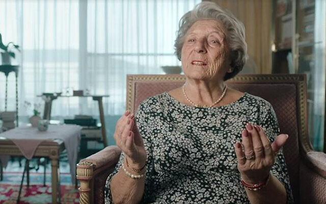 Holocaust survivor Regina Sluszny tells VRT about her feelings toward Israel during filming in 2019 for the Belgian documentary 'Children of the Holocaust.' (VRT via JTA)