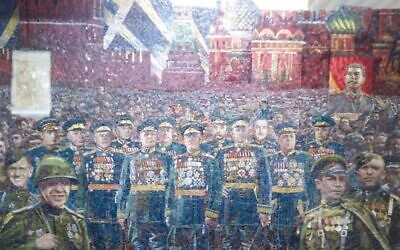 Stalins portrait can be seen in this mural that was set to be unveiled in the  Cathedral of Russian Armed Forces. (Courtesy MBH Media)