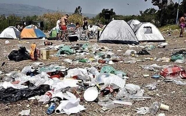 Trash left by Israeli campers, from a presentation by MK Miki Haimovich during a Knesset Interior Affairs and Environment Committee meeting on waste, June 2, 2020.