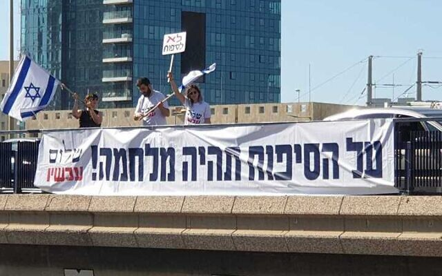 Peace Now activists hang a sign protesting annexation on a bridge over the Ayalon Highway, June 3, 2020 (Courtesy Peace Now)