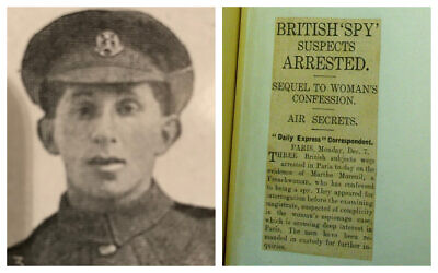 Left: A photo of William 'Wolf' Fisher from the British Jewry Roll of Honour taken at the start of World War I when he was a private in the Middlesex Regiment (courtesy); a newspaper clipping from the Daily Express covering the exposed spy ring (National Archive).