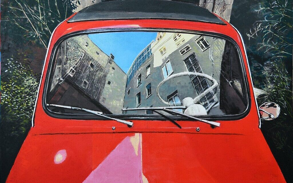 Part of David Gerstein's car series, showing the reflection of houses and trees in the windshield of a car (Courtesy David Gerstein)
