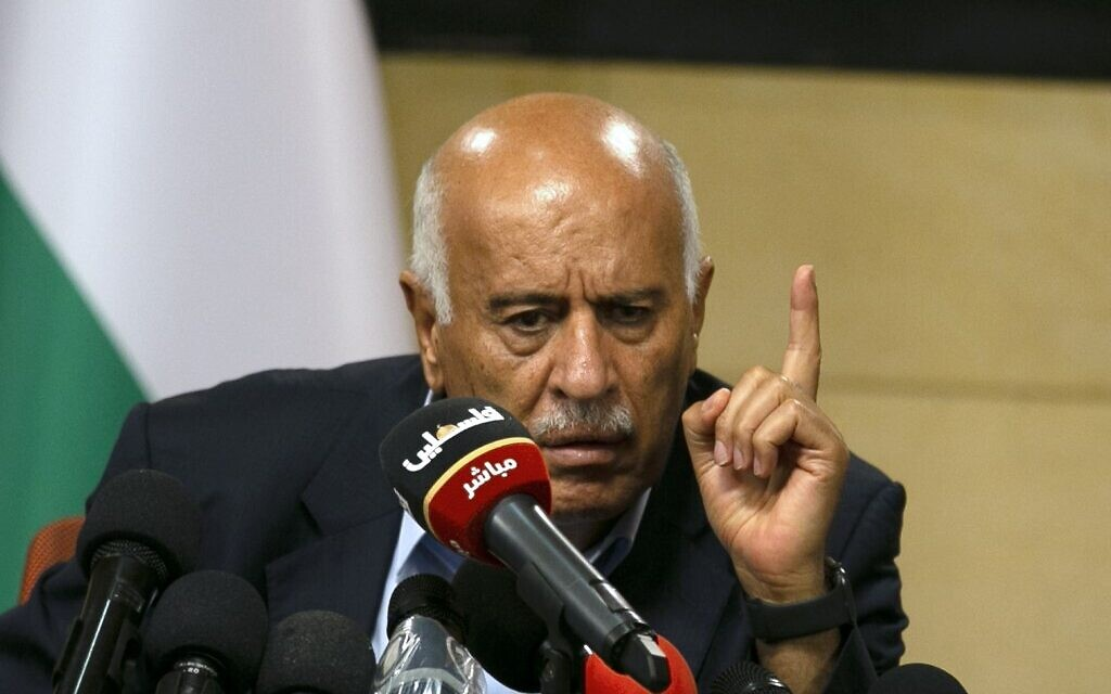 Senior Fatah official Jibril Rajoub, in the West Bank city of Ramallah, attends by video conference a meeting with deputy Hamas chief Saleh al-Arouri (unseen) discussing Israel's plan to annex parts of the West Bank, on July 2, 2020. (Abbas Momani/AFP)