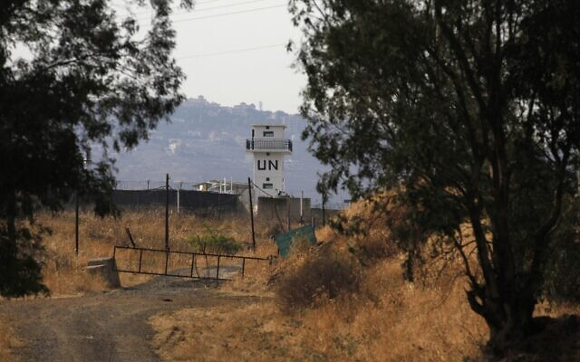A picture taken from the Israeli side of the Blue Line that separates Israel and Lebanon shows a United Nations peacekeeping force UNIFIL monitoring post, amid clashes in the border area, on July 27, 2020. (Jalaa MAREY / AFP)