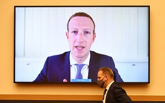 Facebook CEO Mark Zuckerberg speaks via video conference during the House Judiciary Subcommittee on Antitrust, Commercial and Administrative Law hearing on Online Platforms and Market Power in the Rayburn House office Building, July 29, 2020 on Capitol Hill in Washington, DC.