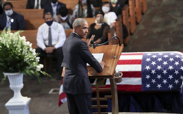 Former president Barack Obama gives the eulogy at the funeral service for the late Rep. John Lewis (D-GA) at Ebenezer Baptist Church on July 30, 2020 in Atlanta, Georgia. (Alyssa Pointer-Pool/Getty Images/AFP)