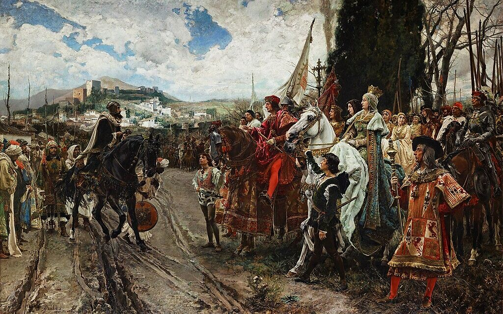 'The Capitulation of Granada'  (Muhammad XII surrenders to Ferdinand and Isabella), painted by Francisco Pradilla y Ortiz, 1882 (Public domain via Wikicommons)